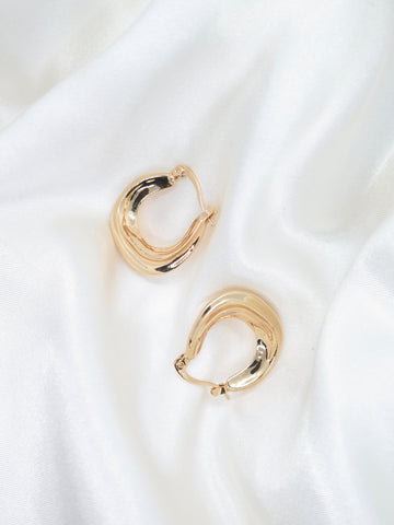Gold Plated Thick Textured Hoop Earrings