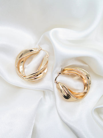Gold Plated Chunky Twist Hoop Earrings