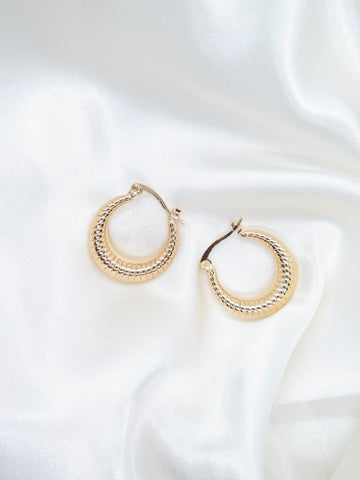 Gold Plated Textured Hoop Earrings