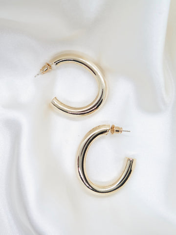 Gold Plated Oval Hoop Earrings