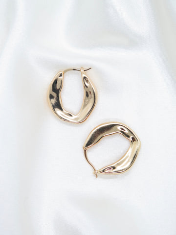 Gold Plated Flat Irregular Hoop Earrings