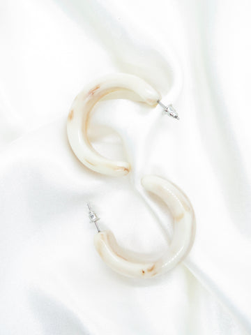 Thick Cream Resin Hoop Earrings