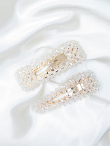 Two Pack Clear Crystal Hair Clips
