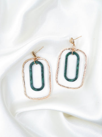 Green Resin Gold Tone Rectangle Earrings