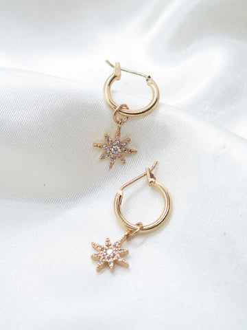 Gold Plated Star Charm Jewel Small Hoop Earrings