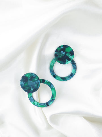 Green Marble Round Resin Earrings
