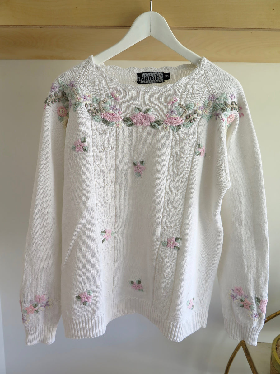 Vintage Floral Embroidered Jumper