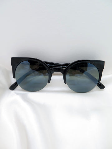 Black Round Half Frame Sunglasses
