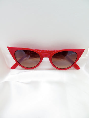 Slim Red Cat Eye Sunglasses