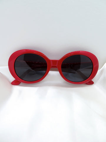 Red Large Oval Sunglasses