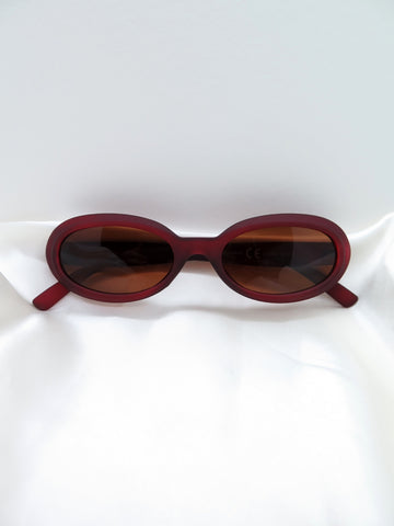 Purple Matte Oval Sunglasses