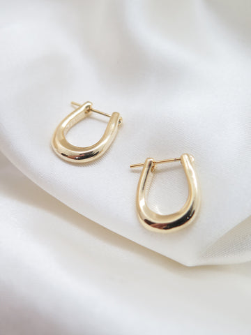 Gold Plated Oval Mini Hoop Earrings