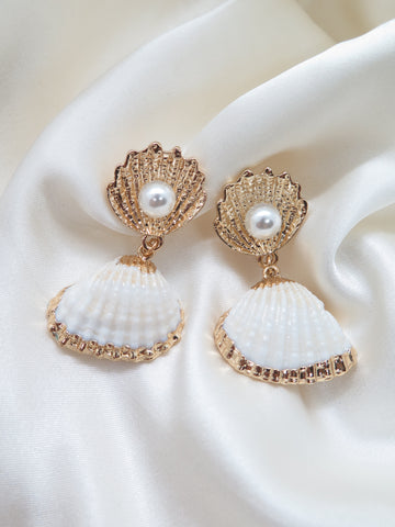 Shell Gold Pearl Drop Earrings