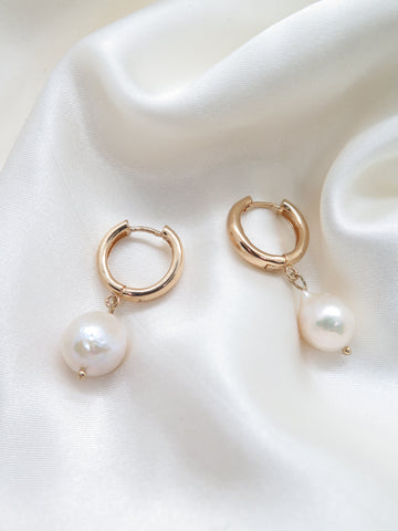 Gold Plated Drop Pearl Hoop Earrings