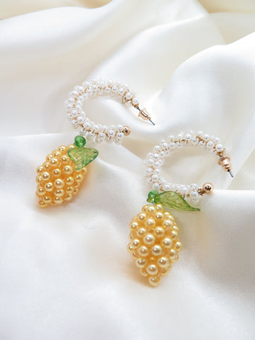 Lemon Fruit Beaded Earrings