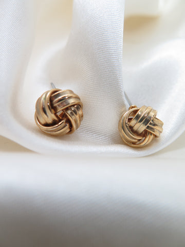 Vintage Gold Tone Twist Knot Earrings