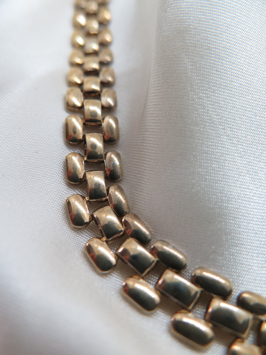 Vintage Gold Tone Flat Chain Necklace