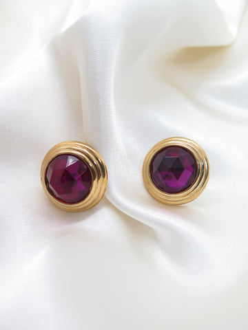 Vintage Purple Jewel Gold Earrings