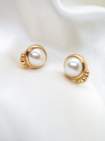 Vintage Gold Tone Faux Pearl Earrings