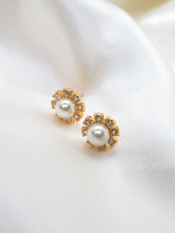 Vintage Gold Tone Diamante Earrings