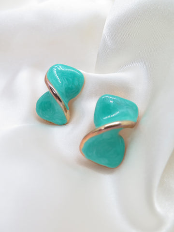 Vintage Turquoise Twist Clip-On Earrings