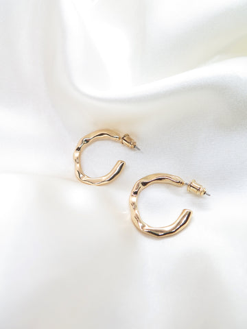 Gold Plated Flat Textured Hoop Earrings
