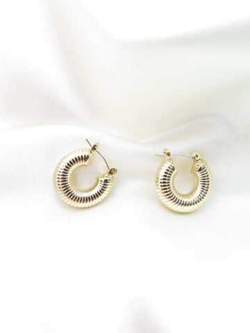 Gold Plated Ribbed Hoop Earrings