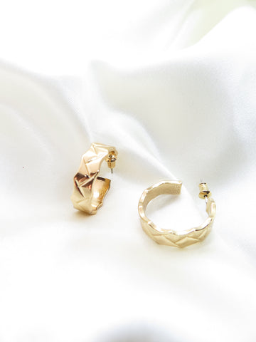 Gold Plated Engraved Hoop Earrings