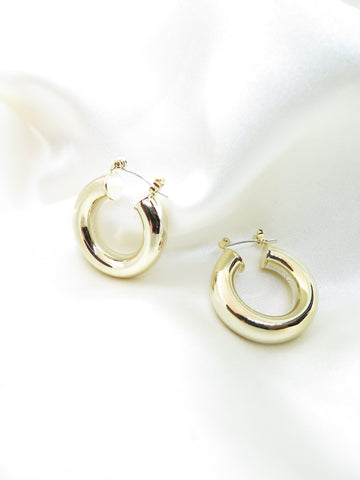 Gold Plated Chunky Hoop Earrings