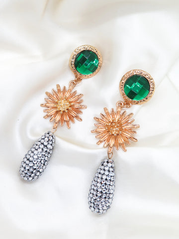Gold Tone Flower Jewel Earrings