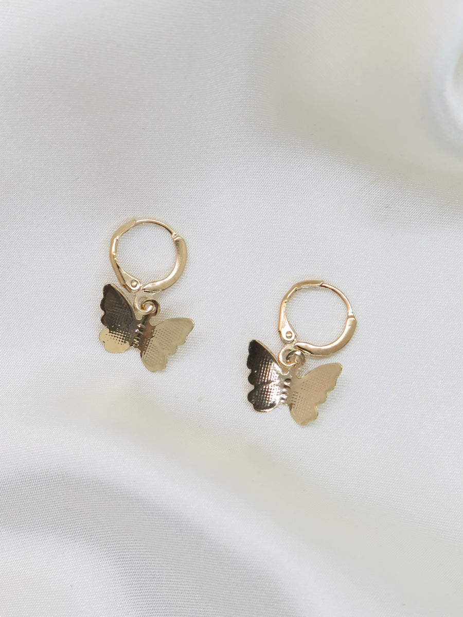 GOLD PLATED Butterfly CHARM SMALL HOOP EARRINGS