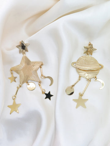 Celestial Gold Tone Dangle Earrings