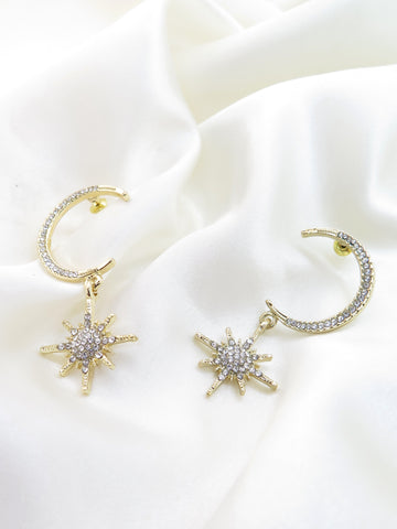Moon & Star Diamante Earrings