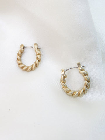Gold Plated Mini Twist Hoop Earrings