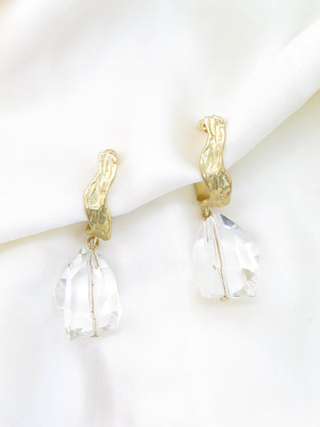 Gold Tone Jewel Drop Earrings