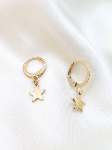 GOLD PLATED Star SMALL HOOP EARRINGS
