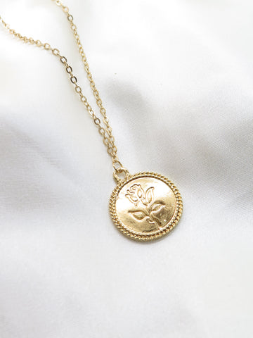 Gold Tone Rose Coin Necklace