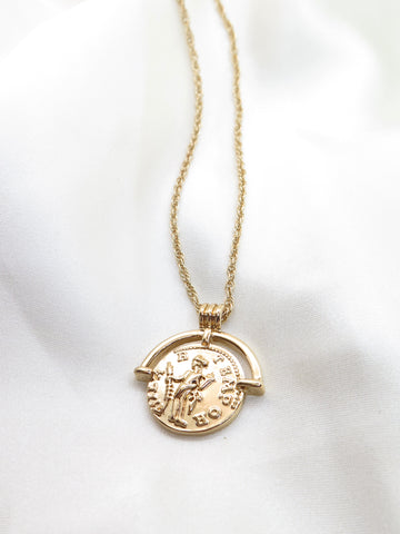 Gold-Tone Coin Pendant Necklace