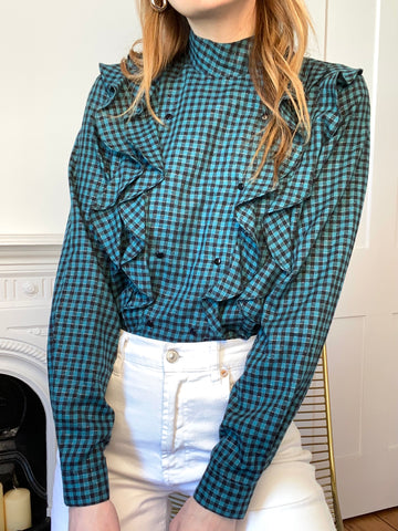 80s Green Gingham Ruffle Blouse - M