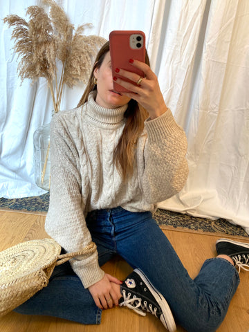 90s Aran Wool Roll Neck Jumper - M