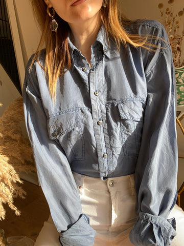 90s Blue Silk Shirt - L