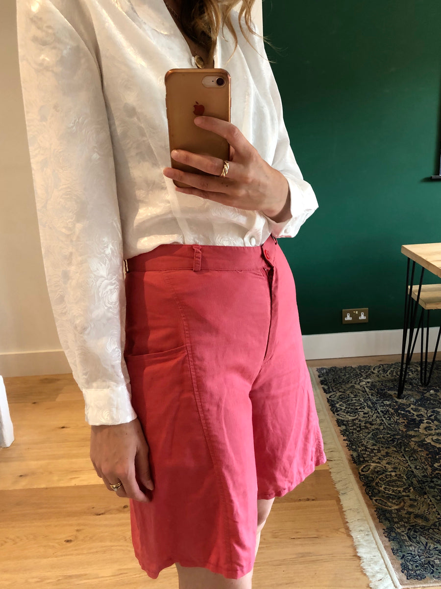 Vintage Pink Cotton High Waisted Shorts