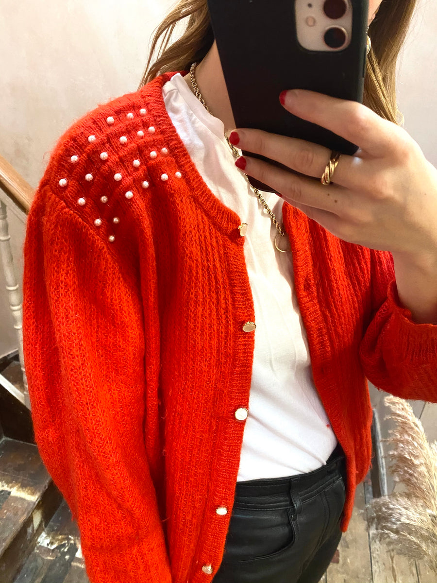 Vintage Mohair Red Pearl Embellished Cardigan - M