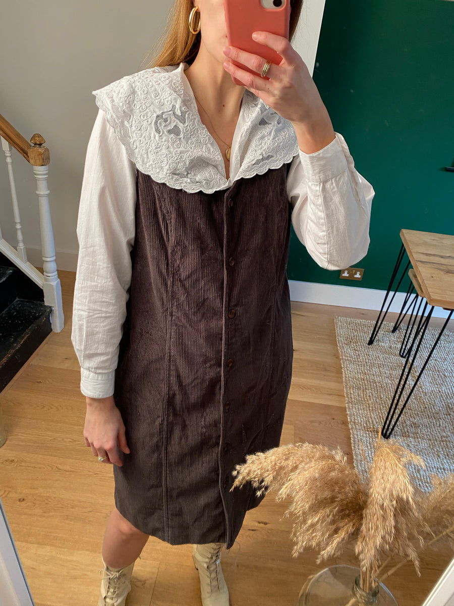 Vintage Brown Cord Pinafore Dress - M