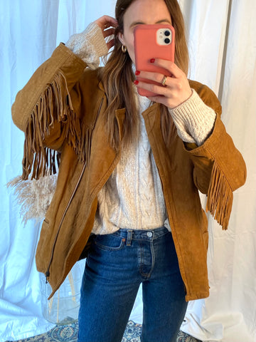 80s Suede Fringed Jacket - M