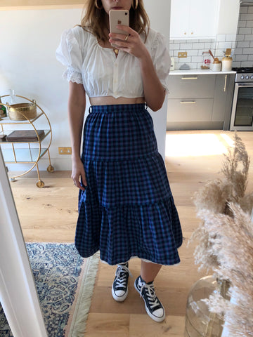 Vintage Blue Check Tiered Skirt