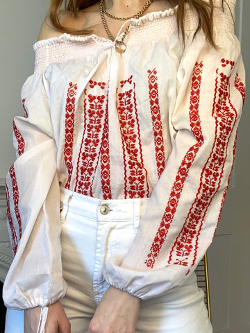 70s Hungarian Red Embroidered Blouse - S/M