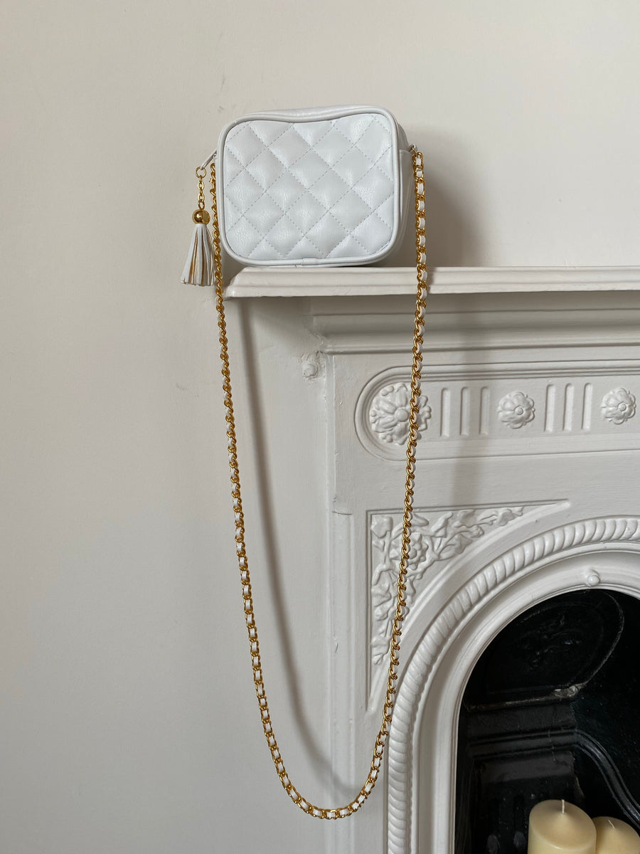 80s White Quilted Chain Bag