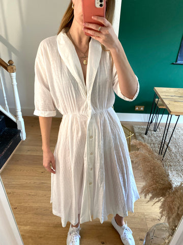 80s White Cotton Dress - S
