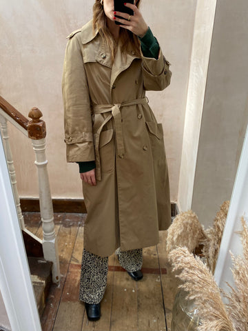 Vintage Beige Check Lined Trench Coat